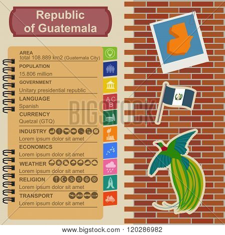 Guatemala infographics, statistical data, sights