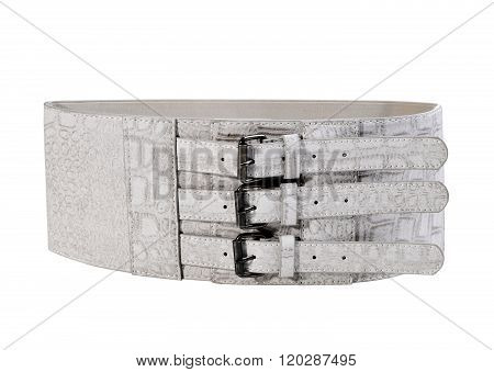 Gray Wide Belt With Buckle Isolated On White Background