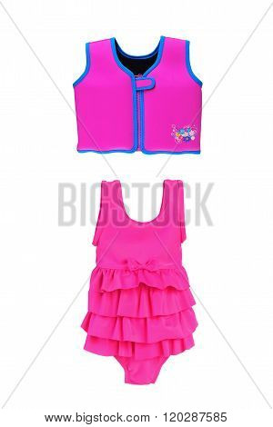 One-piece Swimsuit For Girls And Life Jacket Isolated On White
