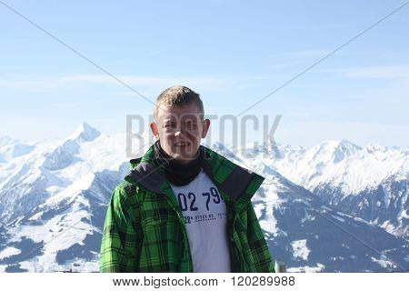 Young Handsome Man Face. Zell Am See, Skiing Resort In Alps.