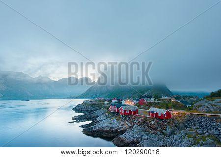 Morning Reine in the fog. Beauty of Lofoten islands, Norway