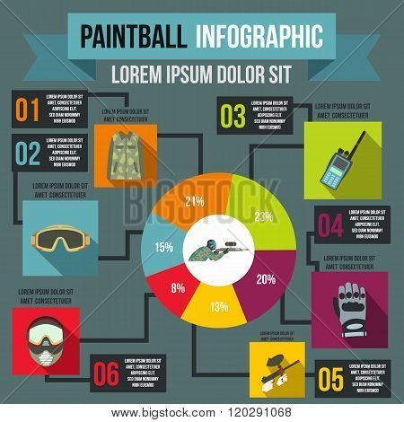 Paintball infographic, flat style