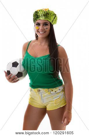 Brazilian woman fan holding soccer ball on white background