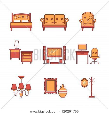 Home furniture signs set. Thin line art icons