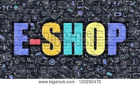 E-Shop Concept with Doodle Design Icons.