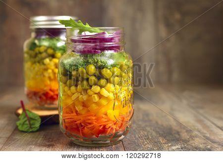 Fresh Vegtable Salad In A Mason Jar.