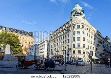 VIENNA, AUSTRIA - NOVEMBER 2015: A downtown street with blue sky in Vienna on 20th of November 2015