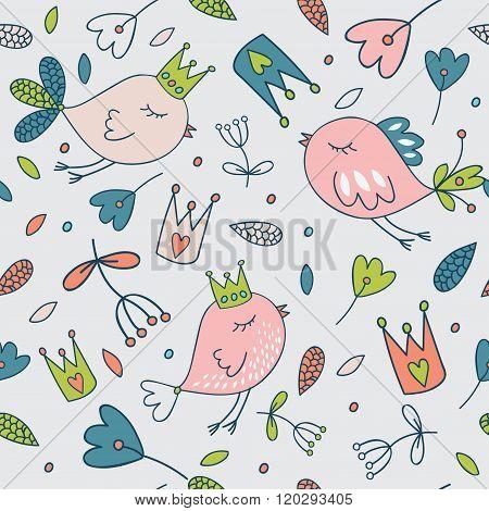 Seamless vector floral pattern. Spring illustration of cute bird