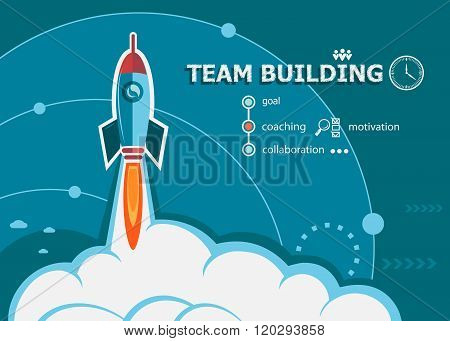 Team Building Design And Concept Background With Rocket.