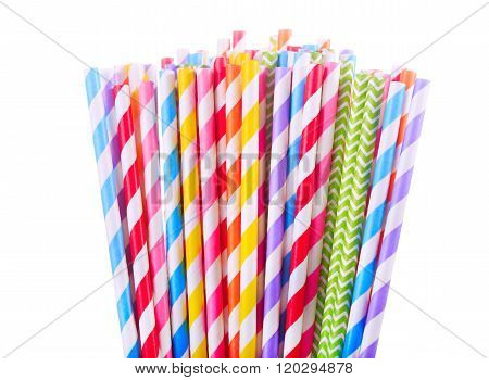 Colorful Drinking Striped Straw On White Background