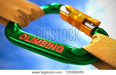 Green Carabine Hook with Text Climbing.