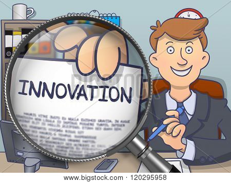 Innovation through Magnifier. Doodle Concept.