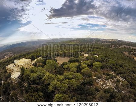 Monastery On Mount Carmel And Jezreel Valley, Israel