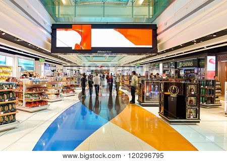 DUBAI - JUNE 23, 2015: Dubai duty-free at Dubai International Airport. Dubai International Airport is the primary airport serving Dubai, United Arab Emirates