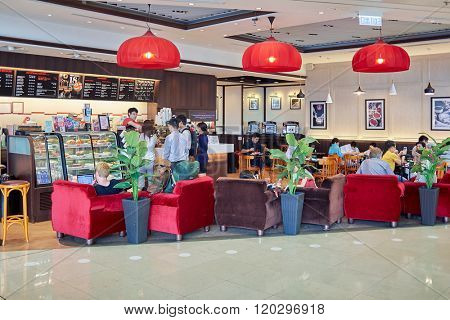 HONG KONG, CHINA - JUNE 18, 2015: interior of Pacific Coffee cafe. Pacific Coffee Company is a Pacific Northwest U.S.- style coffee shop group originating from Hong Kong.