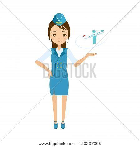 Stewardess Vector Illustration.