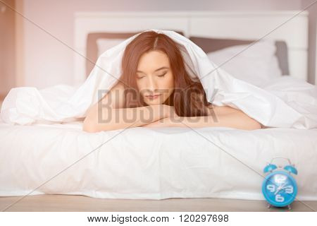 Beautiful Brunette Woman Sleeping On Her Stomach