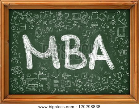 MBA Concept. Green Chalkboard with Doodle Icons.