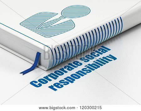 Finance concept: book Business Man, Corporate Social Responsibility on white background