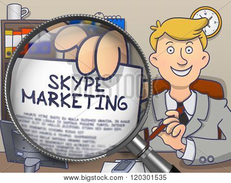 Skype Marketing through Magnifier. Doodle Design.