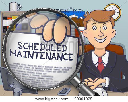 Scheduled Maintenance through Magnifying Glass. Doodle Design.