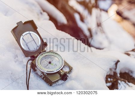 Compass Instrument On Snow