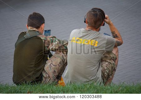 Kiev, Ukraine - September 09, 2015: Young Men With Symbols Of The Nationalist Movement