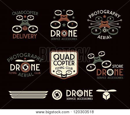 Drone Or Quadrocopter Set Of Vector Badges