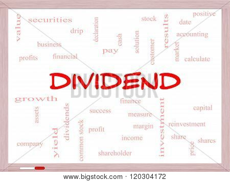Dividend Word Cloud Concept On A Whiteboard