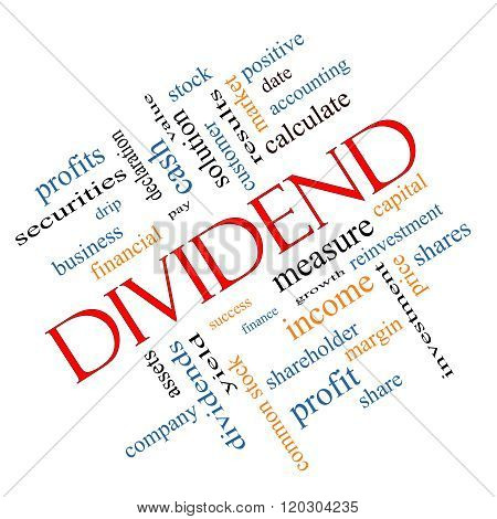 Dividend Word Cloud Concept Angled