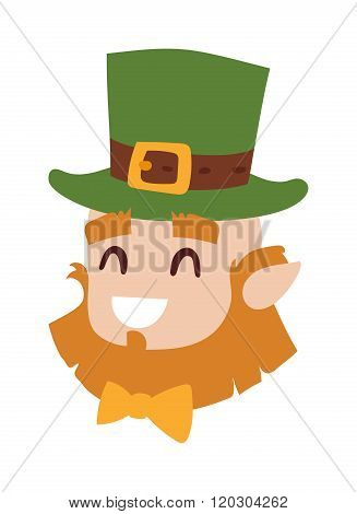 Vector smiling leprechaun head, the symbol of St. Patrick day