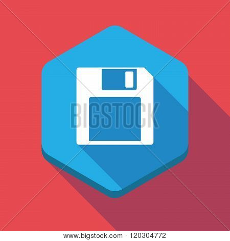 Long Shadow Hexagon Icon With A Floppy Disk