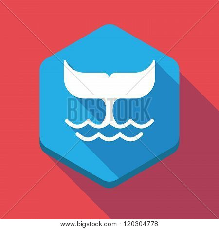 Long Shadow Hexagon Icon With A Whale Tail