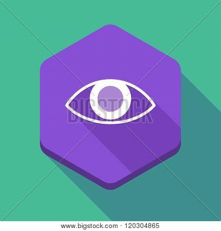 Long Shadow Hexagon Icon With An Eye