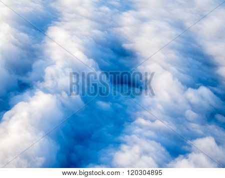 Aerial View Of Stratocumulus Clouds, Top Down Perspective.