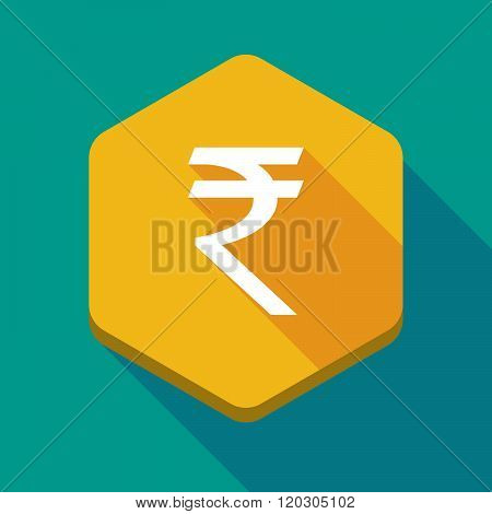 Long Shadow Hexagon Icon With A Rupee Sign