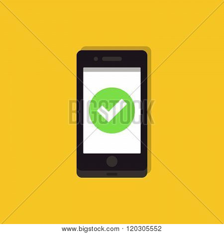 Mobile phone with checkmark symbol. Phone with checkmark symbol. Mobile phone with chekmark symbol flat icon. Smartphone icon. Operation accepted