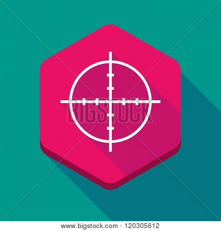 Long Shadow Hexagon Icon With A Crosshair