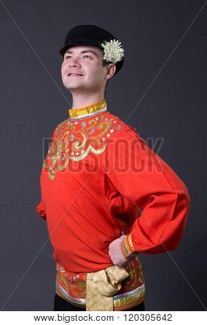 Attractive Caucasian Guy Wearing A  Folk Costume