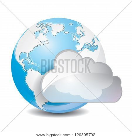 cloud based sharing global concept icon