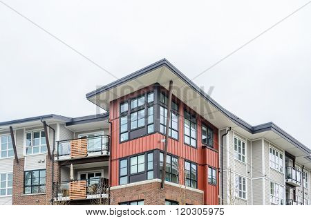 Modern apartment buildings in Langley, Vancouver, British Columbia, Canada.