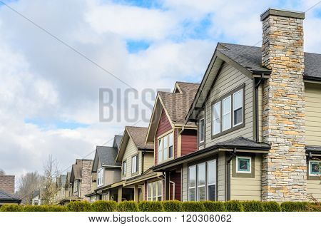 A perfect neighborhood. Houses in suburb at Spring in the north America.