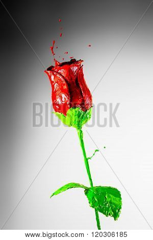Beautiful Red Rose Made Of Bursting Paint