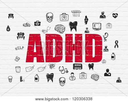 Health concept: ADHD on wall background