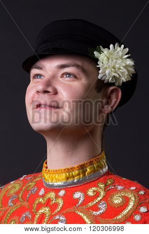 Portrait Of A Young Guy Wearing A Folk Russian Costume
