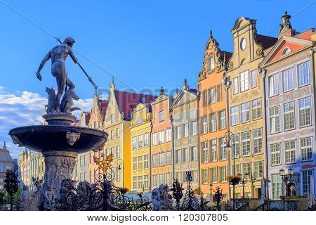 Neptune Statue With Colorful Houses In Background, Gdansk, Poland