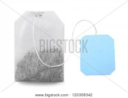 Teabag with blue label isolated on white background