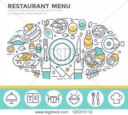 Restaurant food concept illustration, thin line flat design