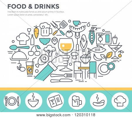 Food and drinks illustration, thin line flat design