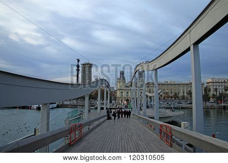 Barcelona, Catalonia, Spain - December 13, 2011: Rambla De Mar - Wooden Promenade Over The Port Vell